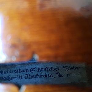 Barockvioline mit Etikett Johann Adam Schönfelder 1